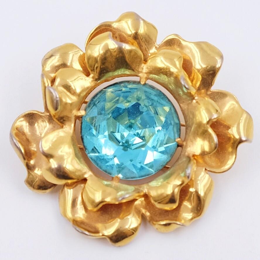 Book piece Eisenberg Blue Flower Clip Brooch