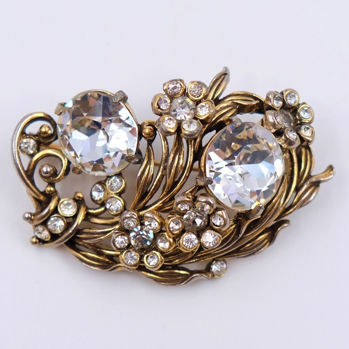 Vintage Hollycraft Feathers and Rhinestones Brooch 1950s