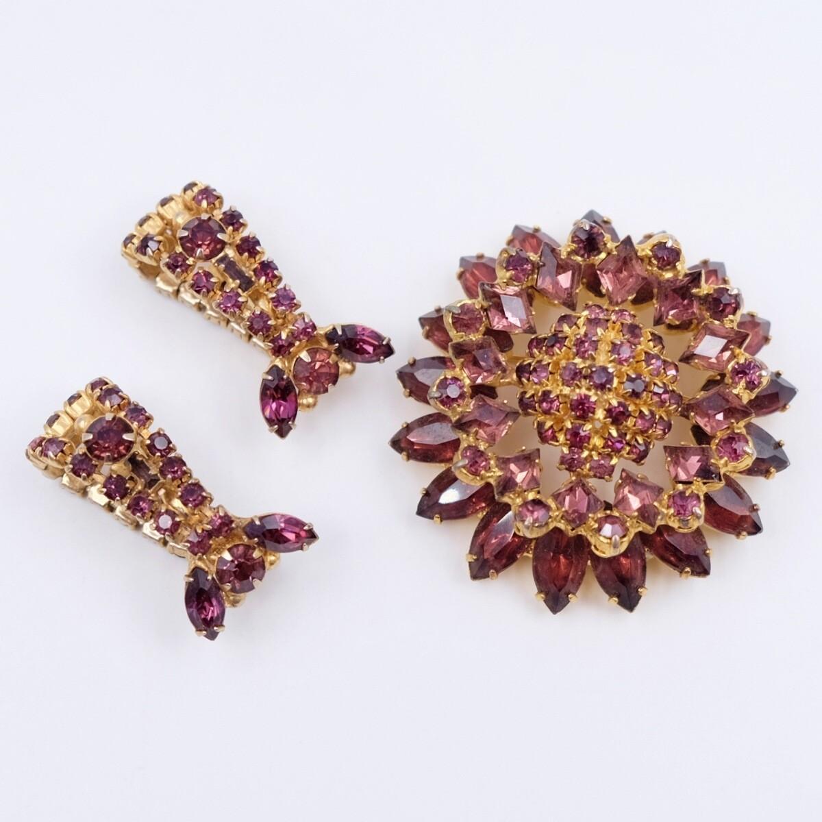Rare Mermaid Brooch and Earrings Purple Set