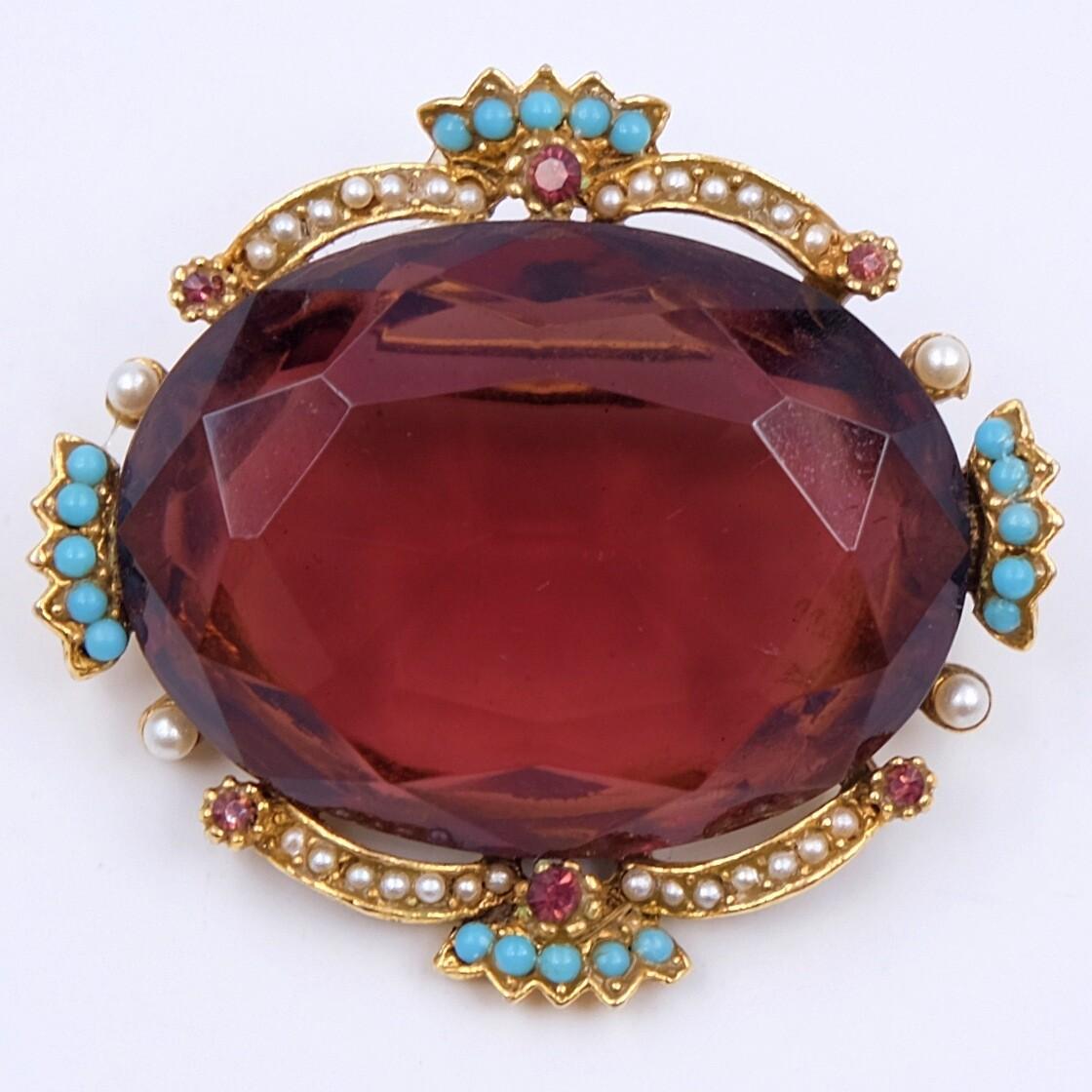 Vintage Art Brooch Purple Glass Victorian Revival 1970s