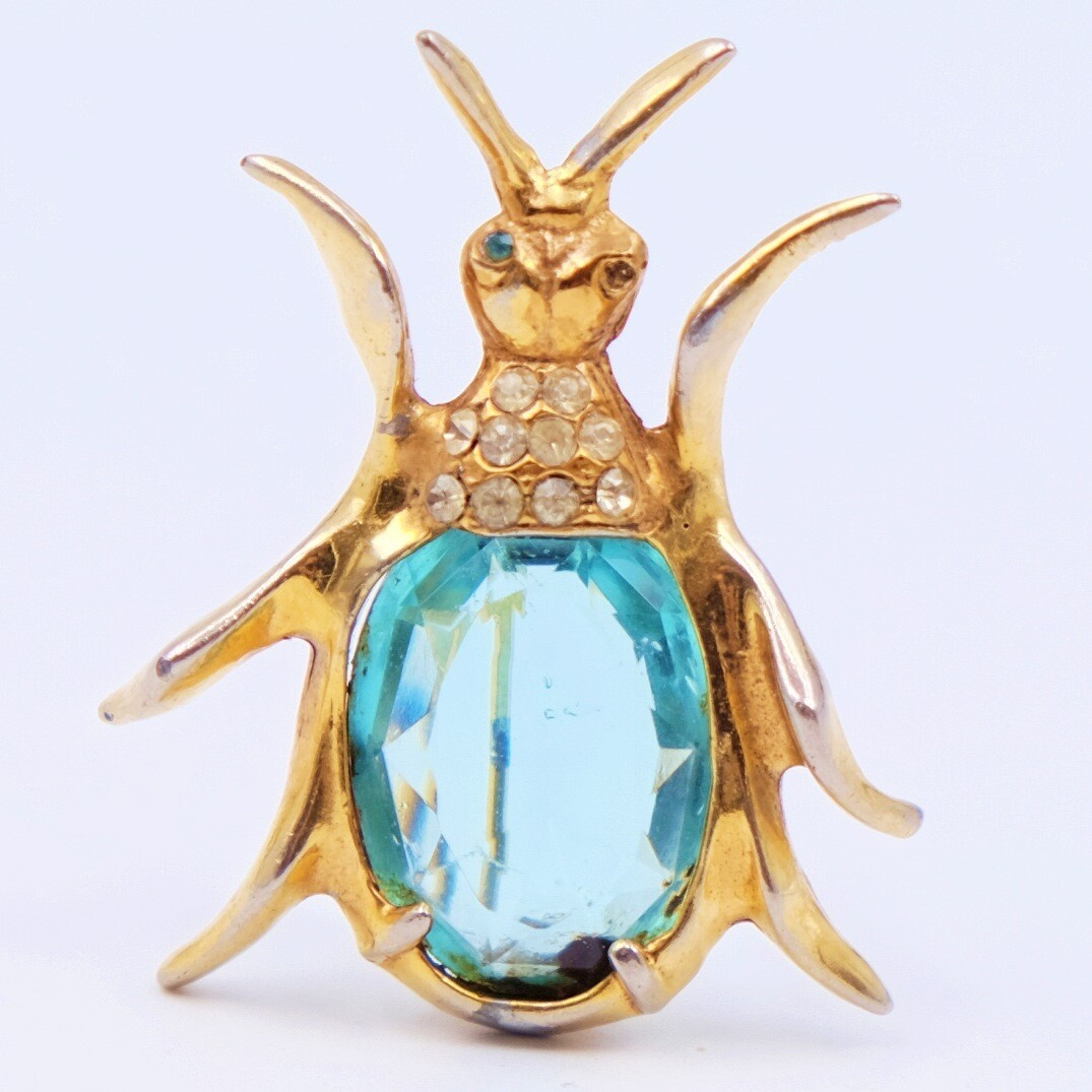 Vintage Beetle Pin Brooch 1940s