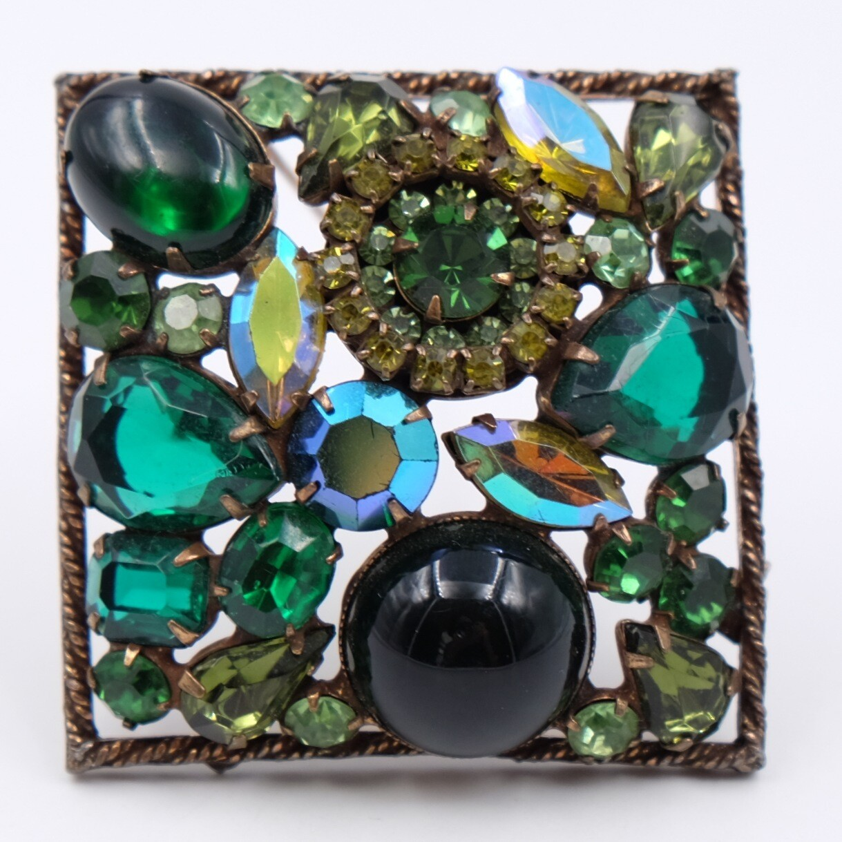 Vintage Large Square Weiss Brooch 1950s