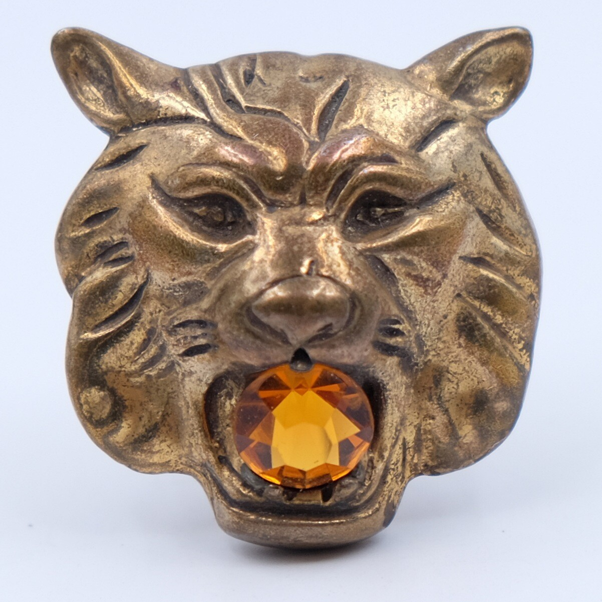 Rare Regina Lion Head Brooch 1950s