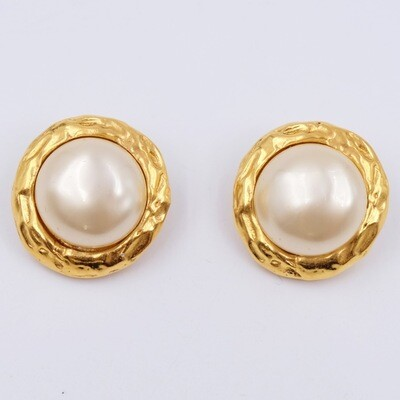 Vintage Chanel Faux Pearl Earrings 1980s