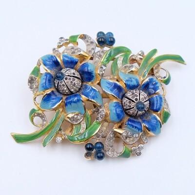 CORO Duette Blue Flowers Pin Enamel 1940s