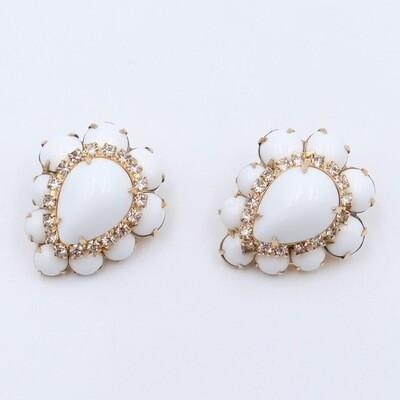 Vintage Hattie Carnegie Milk Glass Earrings