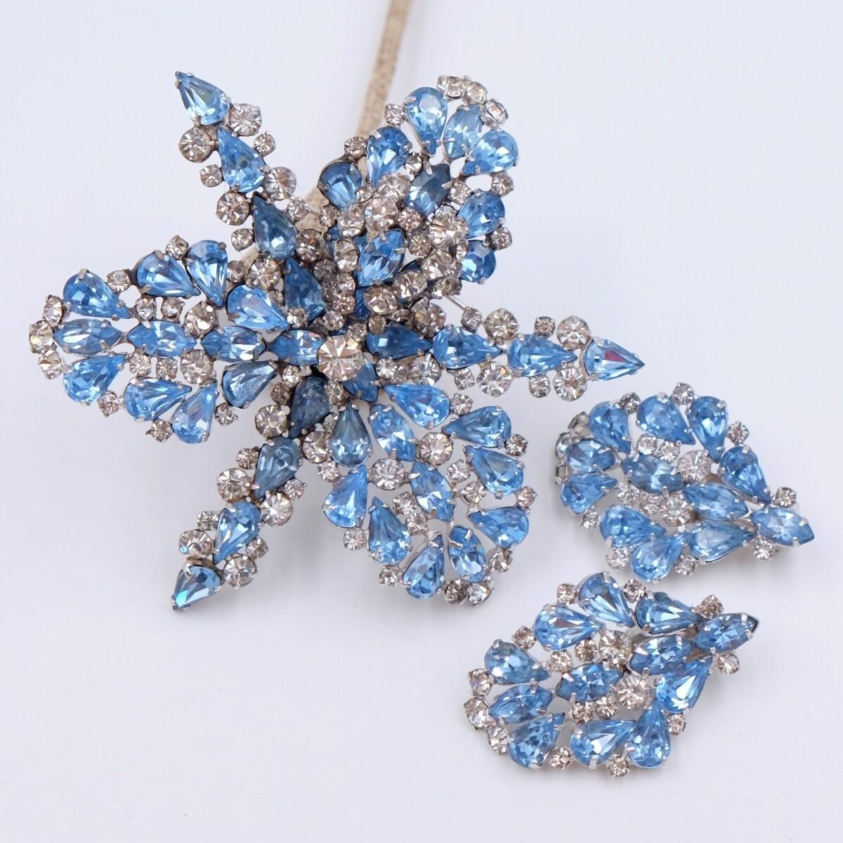 Vintage Elsa Schiaparelli unsigned set earrings and brooch
