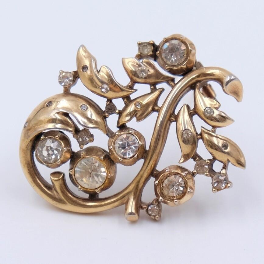 Винтажная брошь Trifari Sterling имитация бриллиантов старой огранки