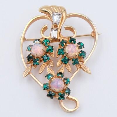 Vintage Faux Opals Brooch 1930s Gold Filled