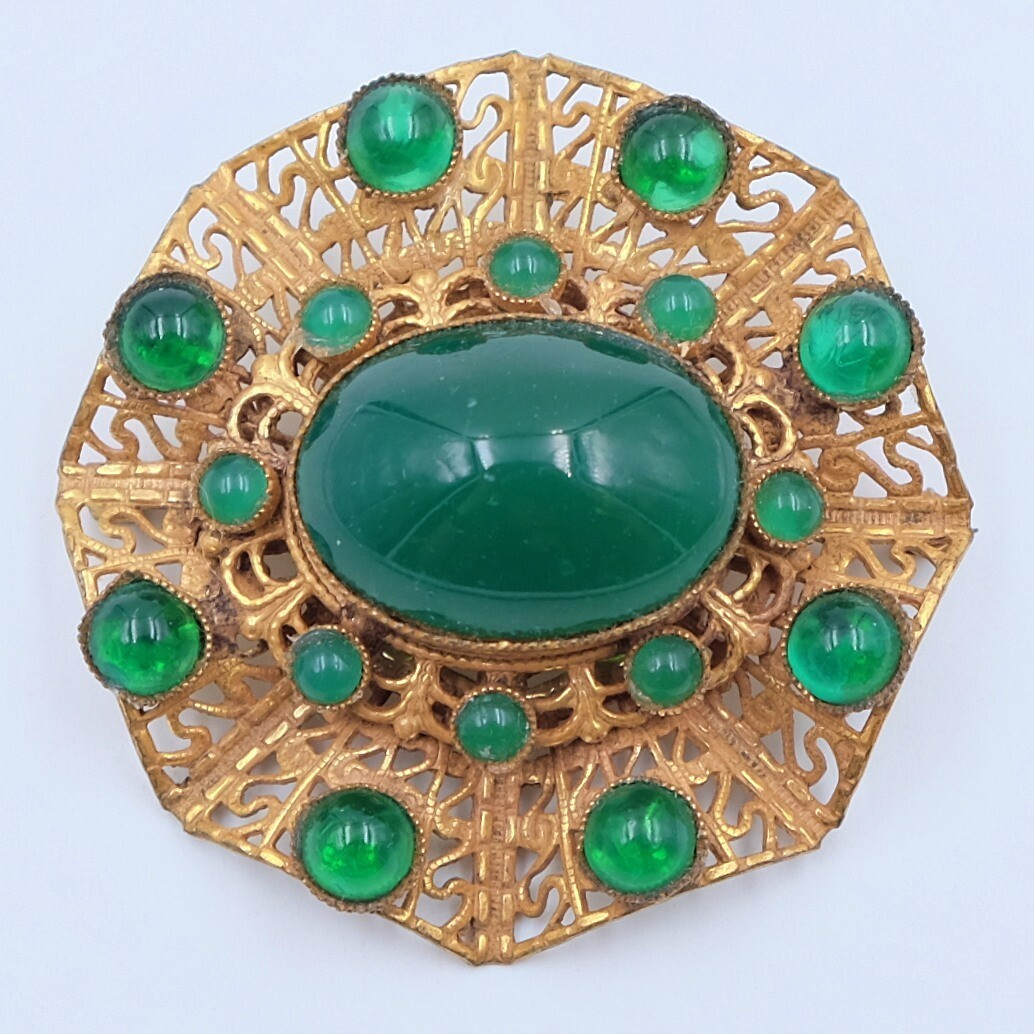 Vintage Czech Spider Web Brooch 1960s