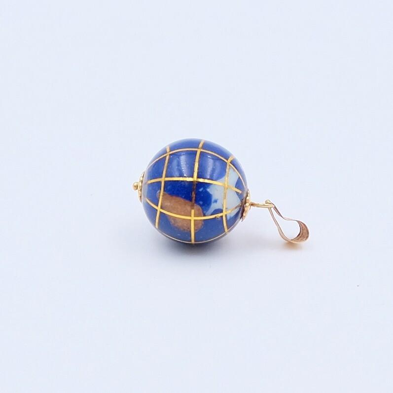 """Винтажная подвеска """"Земной шар"""" из натуральных камней и золото 18K"""