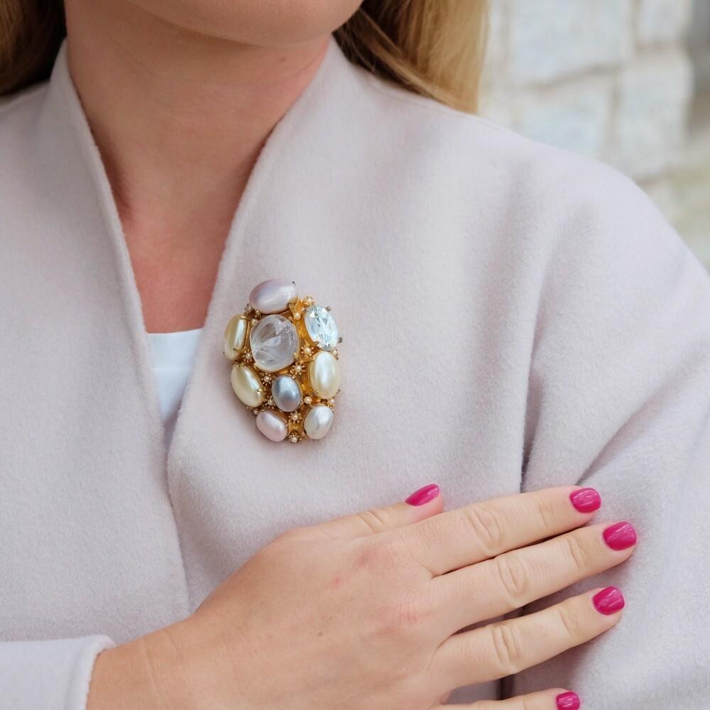 Vintage Cadoro Faux Pearls Brooch 1980s