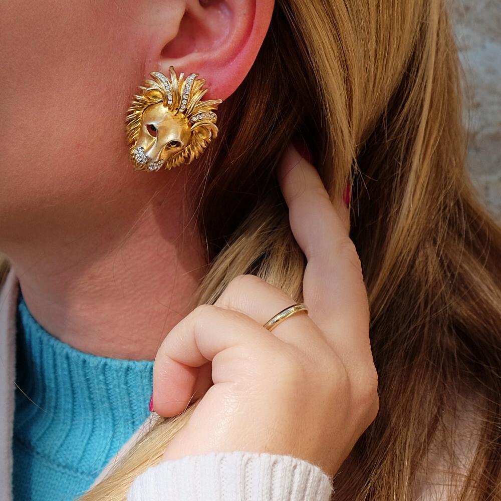 Vintage Lion Heads Earrings