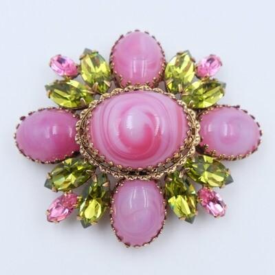Vintage Regency Pink Cross Brooch