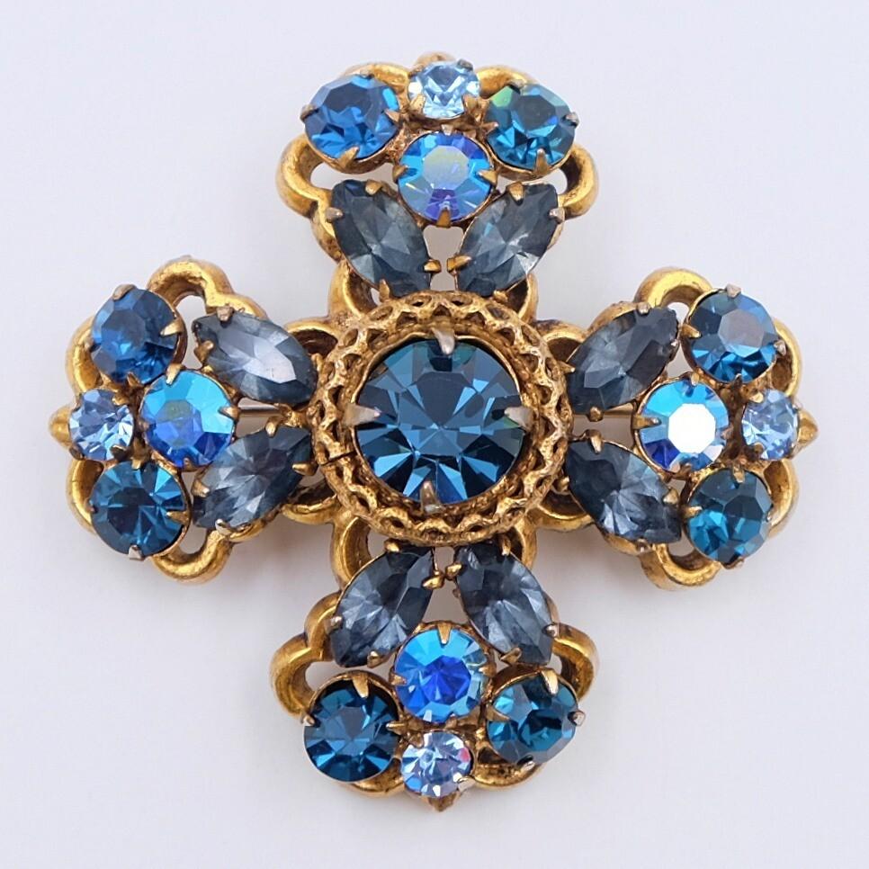 Vintage Regency Blue Cross Brooch