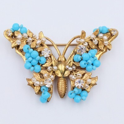 Vintage Miriam Haskell Butterfly Brooch