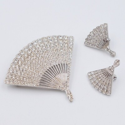 Vintage ORA Fan Brooch and Earrings set