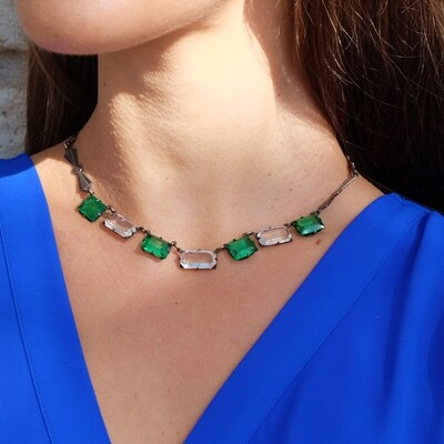 Antique Faux Emerald Necklace Art Deco Necklace
