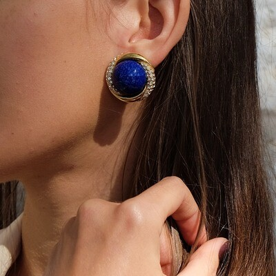 Vintage Ciner Earrings Faux Lapis Lazuli