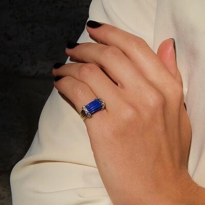 Винтажное кольцо Золото 14K лазурит бриллианты размер 14.5