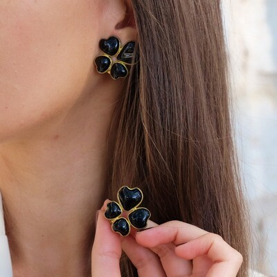 Vintage Gripoix Black Glass Earrings 1980s
