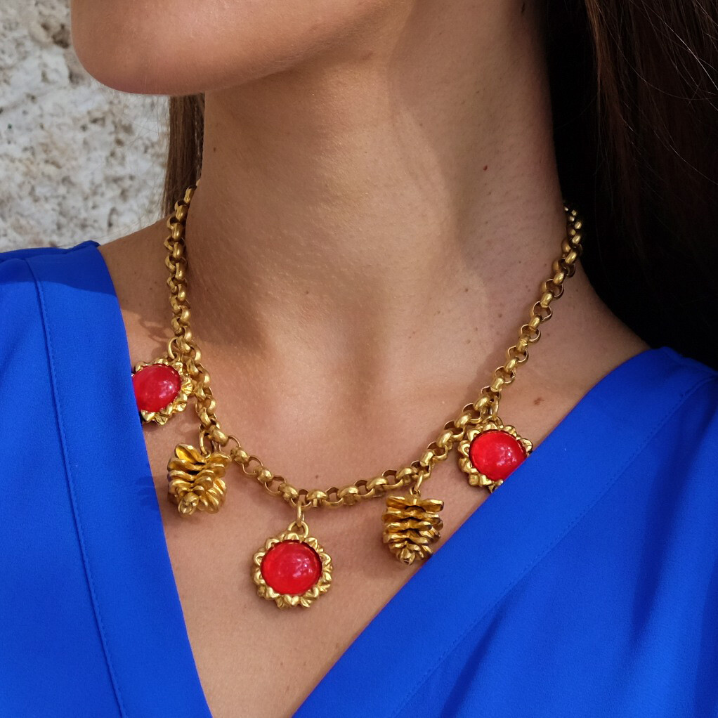 Vintage Kenzo Christmas Necklace 1990s