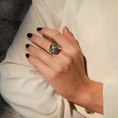 Vintage 14K Gold Diamonds Enamel Rings Size 6.5