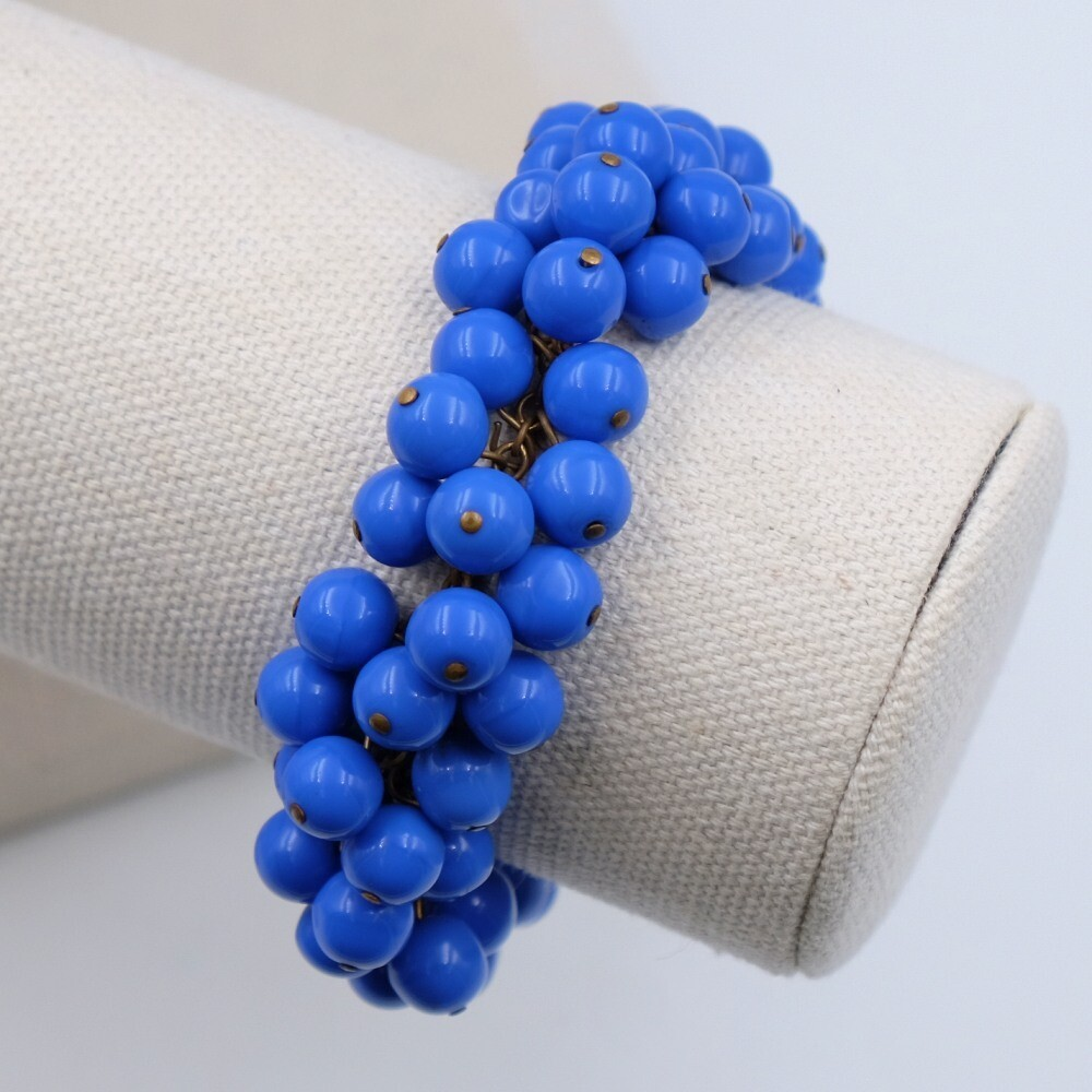 Vintage Miriam Haskell Blue Glass Beads Early Bracelet 1930's