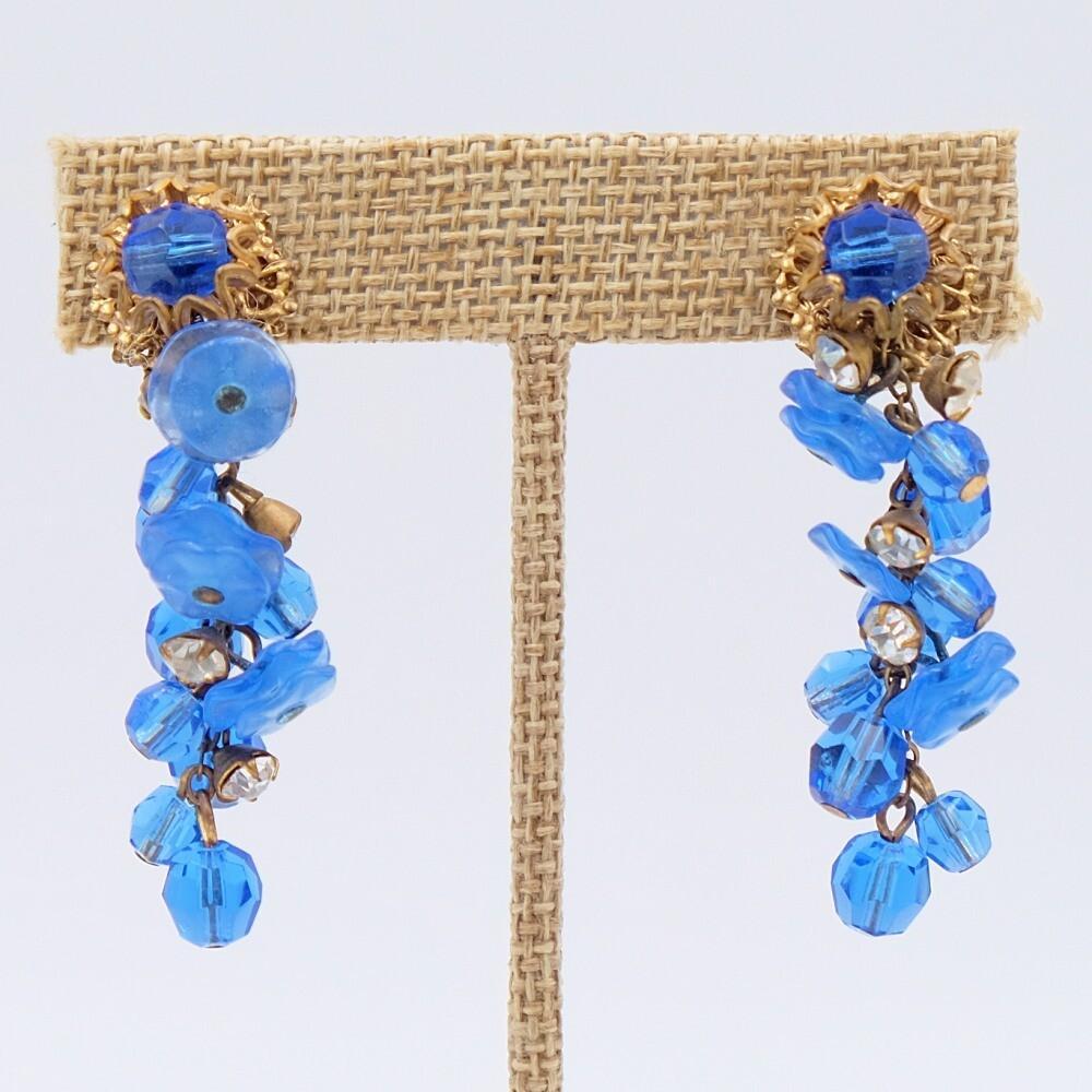Vintage Miriam Haskell Blue Dangling Earrings 1960's