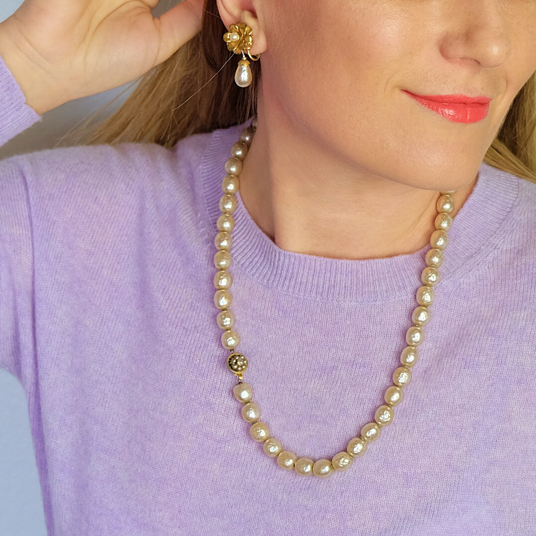 Vintage Miriam Haskell Classic Necklace Faux Pearls 1960's