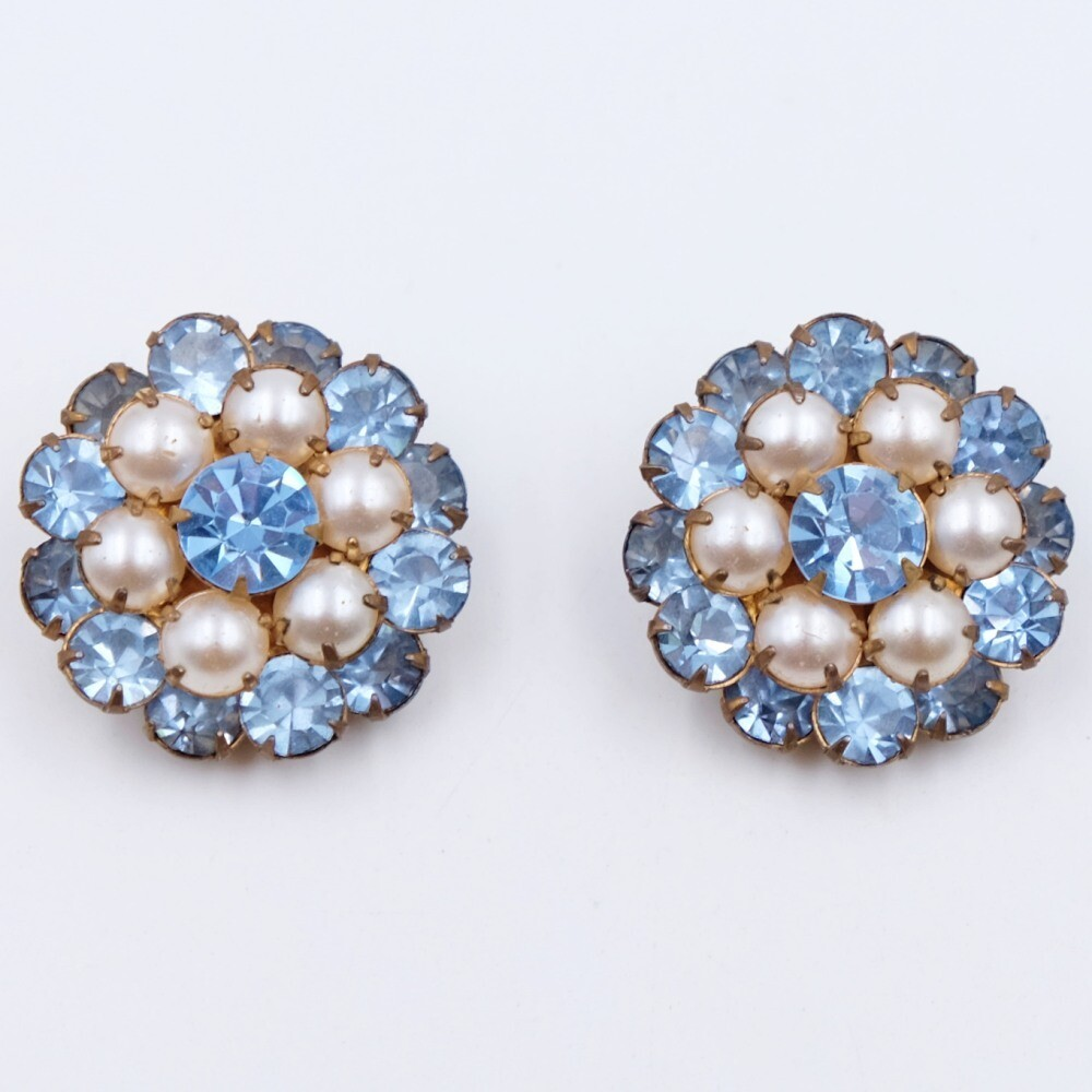 Vintage Blue Crystal Earrings 1950s