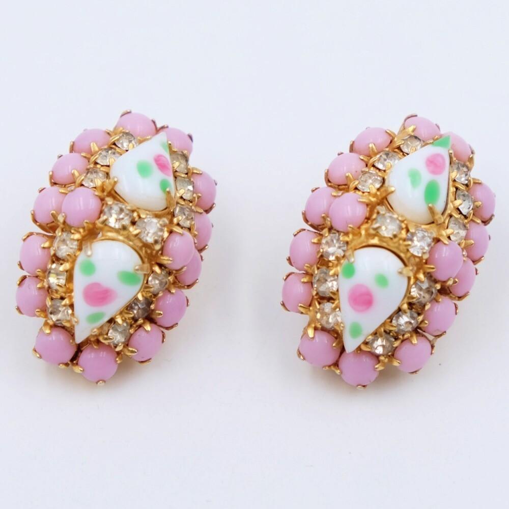 Vintage pink glass birthday Cake earrings 1950s