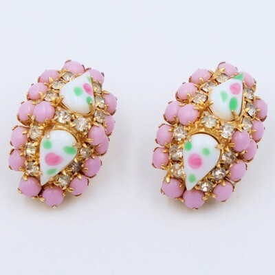 Vintage Pink Glass Earrings 1950s