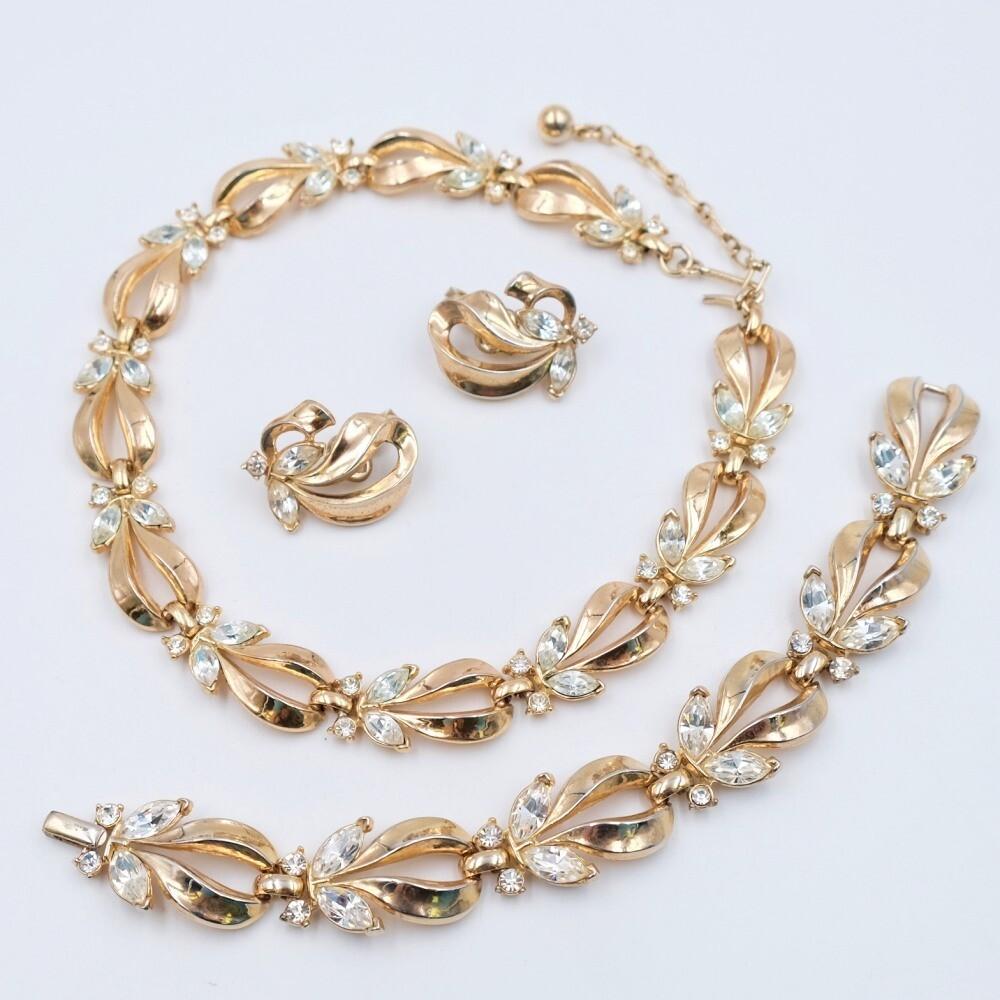 Trifari Set 1950s Necklace, Bracelet and Earrings