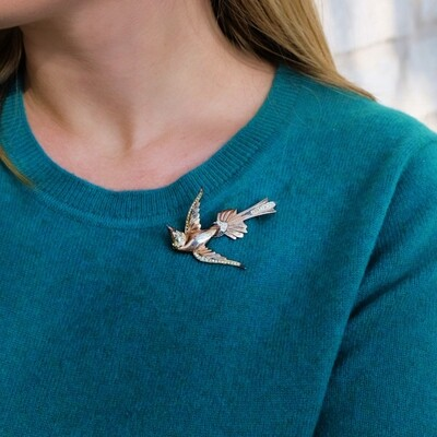 Vintage Sterling Bird Brooch 1940s