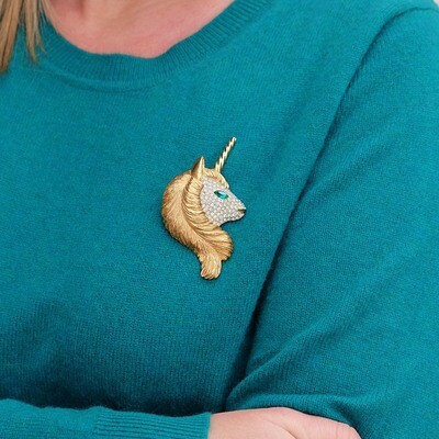 Vintage Sphinx Unicorn brooch 1970s