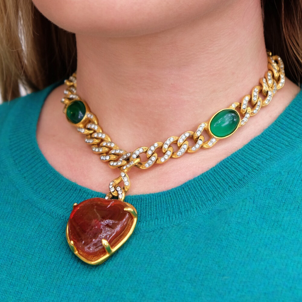 Vintage Rare Kenneth Jay Lane Heart Pendant Necklace