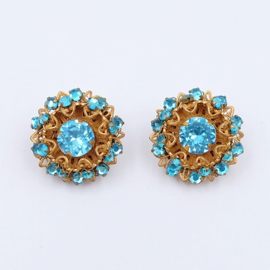 Vintage Miriam Haskell Blue Earrings 1970s