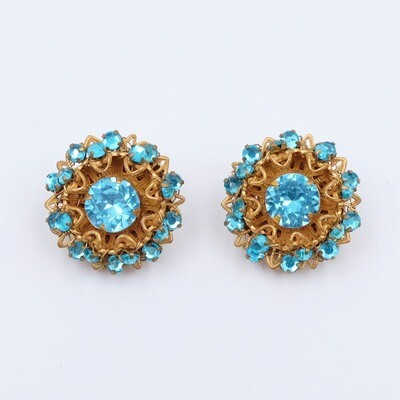 Vintage Miriam Haskell Blue Earrings 1970s