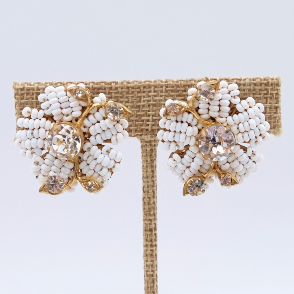 Vintage Miriam Haskell Beads Flowers Clip on Earrings 1960s
