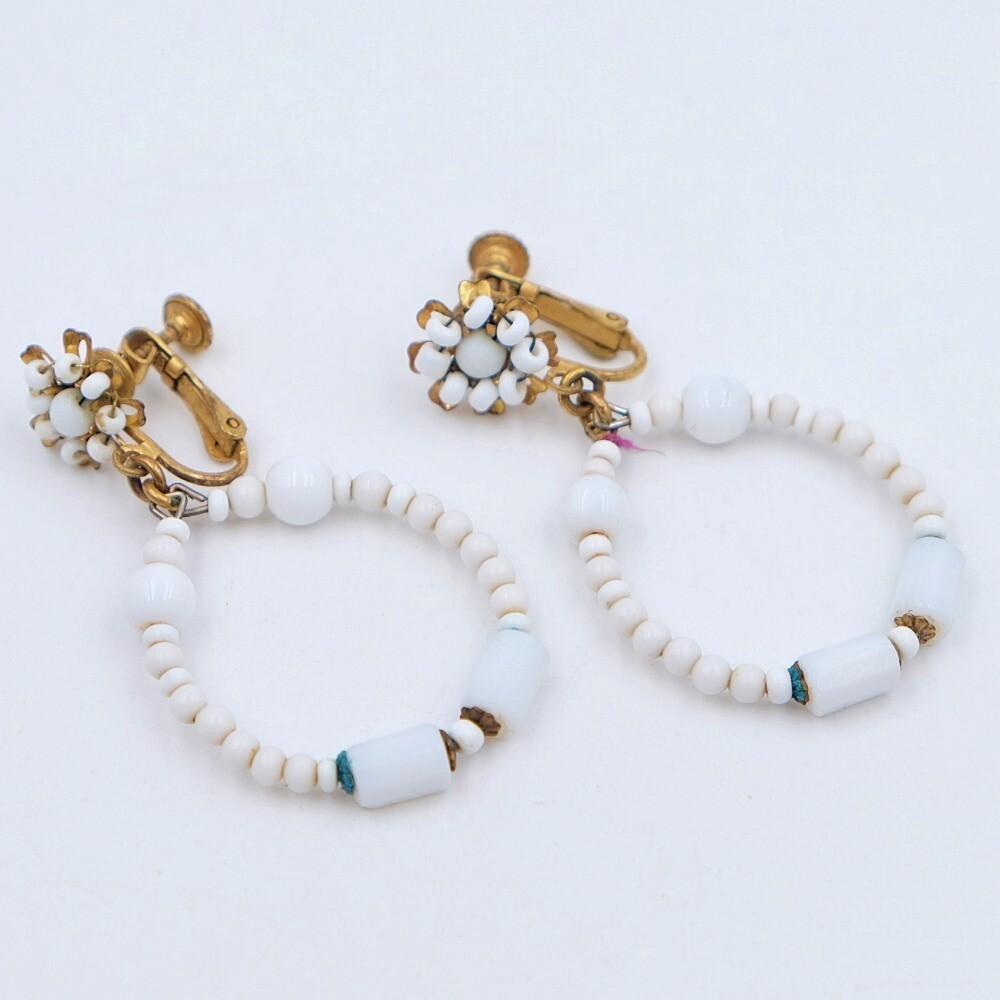 Vintage Miriam Haskell Milk Glass Earrings 1950s