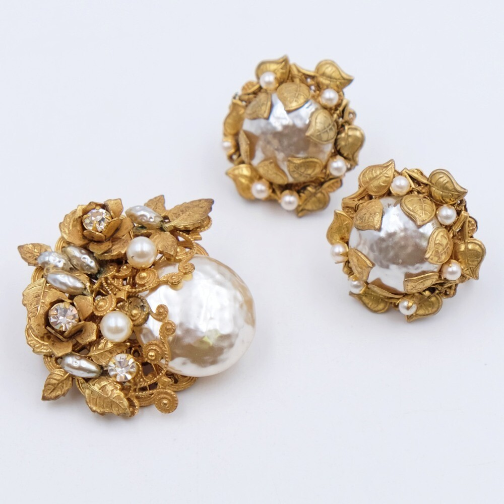 Vintage Classic Miriam Haskell Set Faux Pearls Brooch and Earrings