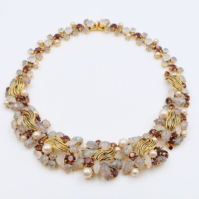 Christian Dior Vintage Necklace Faux Topaz Germany 1964