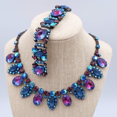 Vintage Deep Blue Necklace and Bracelet set 1950s USA