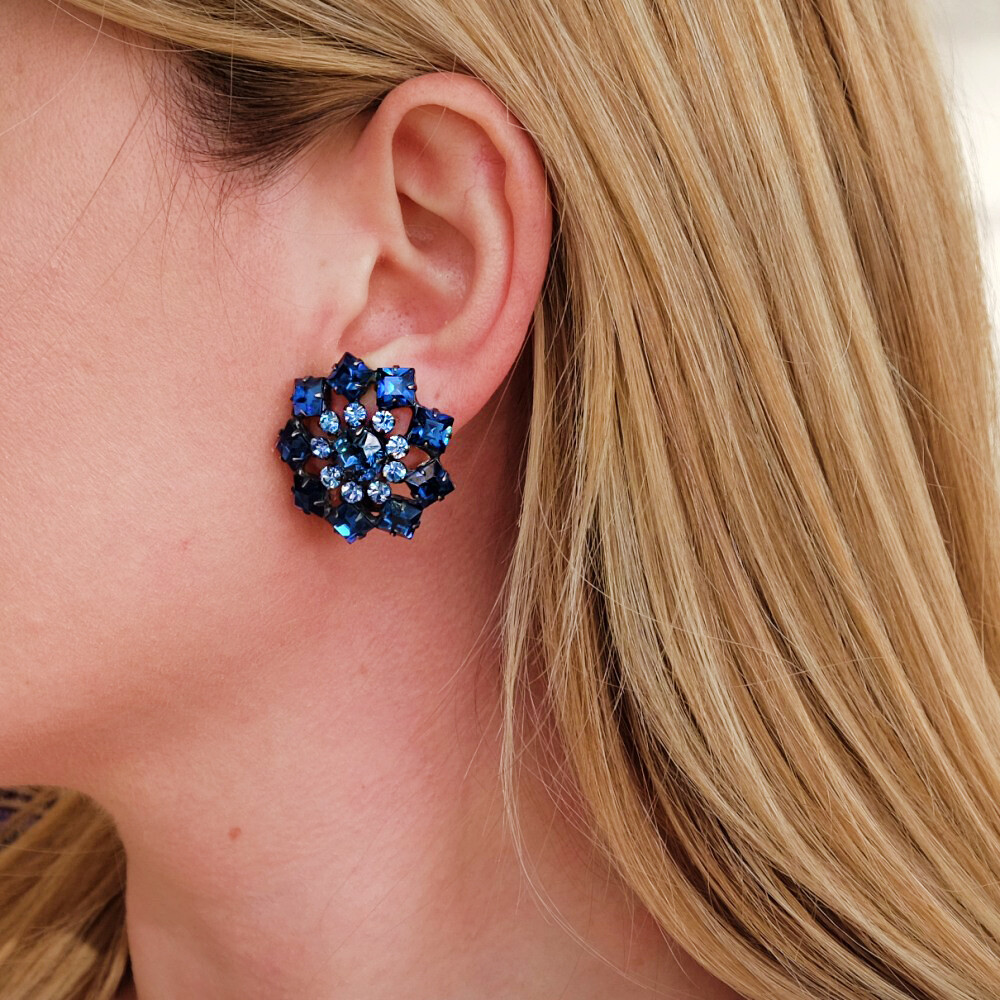 Schreiner Blue Earrings 1950s