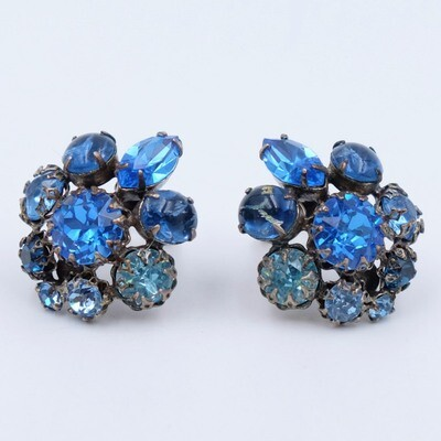 Schreiner Blue Earrings 1950s
