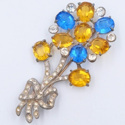 Antique Paste Flower Brooch 1930s