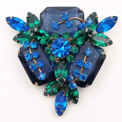 Blue and Green Massive Designer Brooch