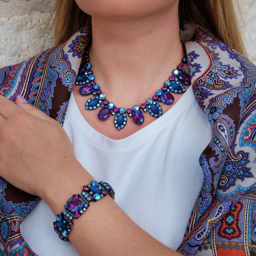Deep Blue Czech Necklace and Bracelet Set 1950s