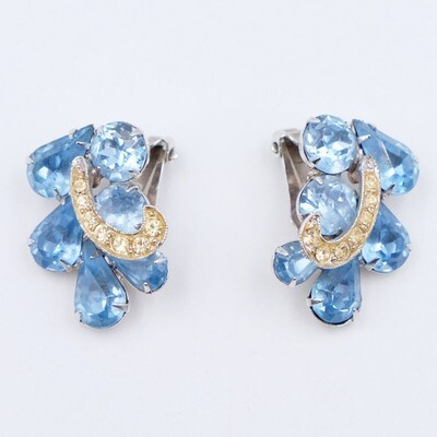 Vintage Weiss Blue Rhinestones Earrings